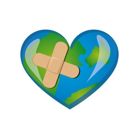 earth planet heart with bandage icon, vector