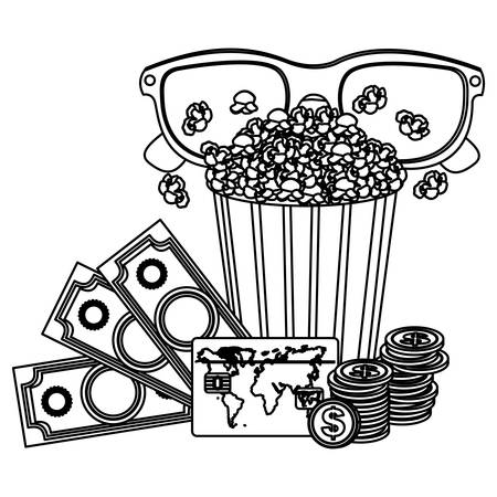 pop corn, 3d glasses and money, credit card icon, vector illustraction Illustration