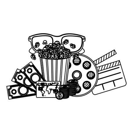 buttery: pop corn, 3d glasses, clapper board and money, vector illustraction Illustration