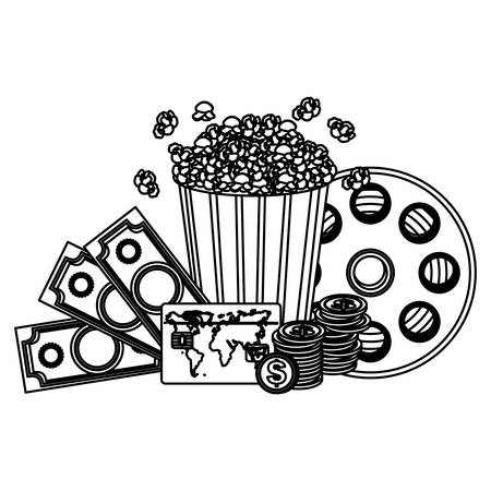 buttery: pop corn, clipart movie and money icon, vector illustraction design