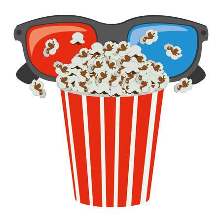 color pop corn with 3d glasses icon, vector illustraction design