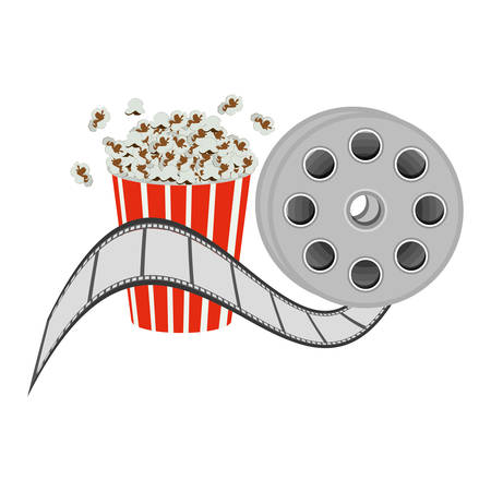 color pop corn with film production icon, vector illustraction design