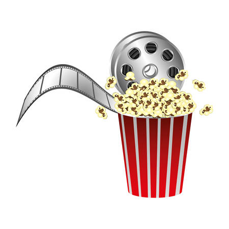 pop corn with film production icon, vector illustraction design