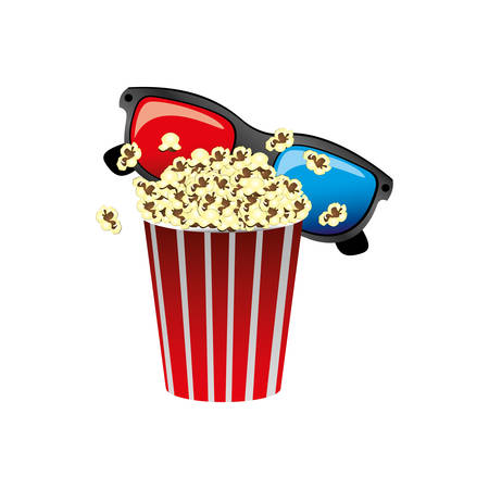 color pop corn with 3d glasses icon, vector illustraction design
