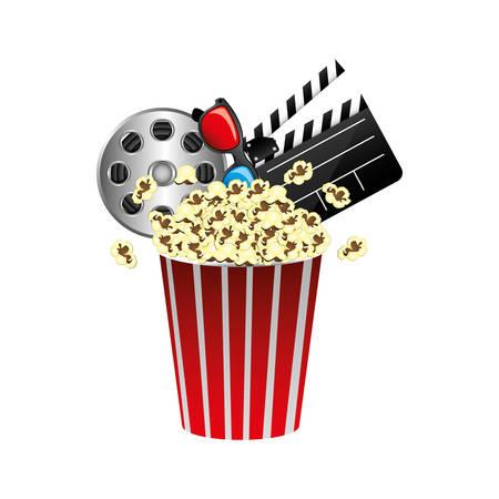 pop corn, film production, film board and 3d glasses, vector illustraction