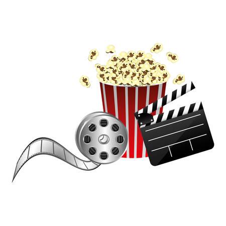 pop corn, film production, film board and 3d glasses, vector illustraction Illustration