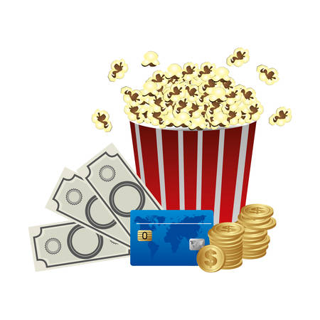 buttery: color pop corn, clipart movie and money icon, vector illustraction design