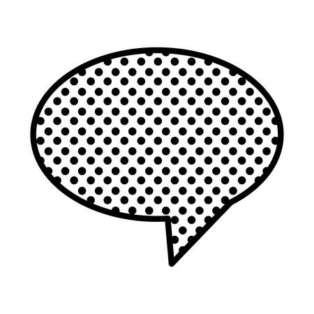 monochrome oval speech with tail and background with dots vector illustration