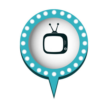 monochrome silhouette of tv in circular speech with contour dotted and tail vector illustration