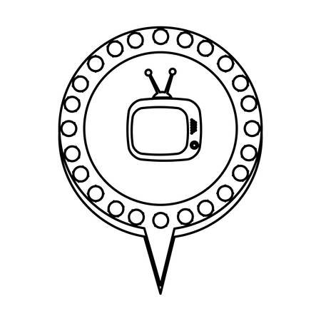 hdtv: monochrome silhouette of tv in circular speech with blue contour with dotted and tail vector illustration Illustration
