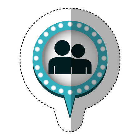 sticker of couple in circular speech with blue contour with dotted and tail vector illustration