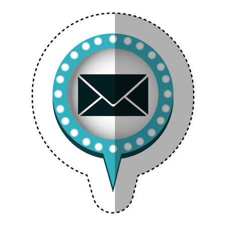 sticker with closed envelope mail in circular speech with blue contour with dotted and tail vector illustration