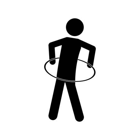 hulahoop: monochrome pictogram with training in hula hoop vector illustration Illustration