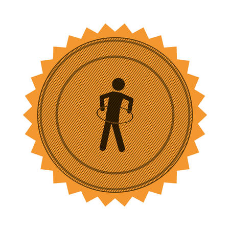 hulahoop: amber circular seal with training in hula hoop vector illustration Illustration