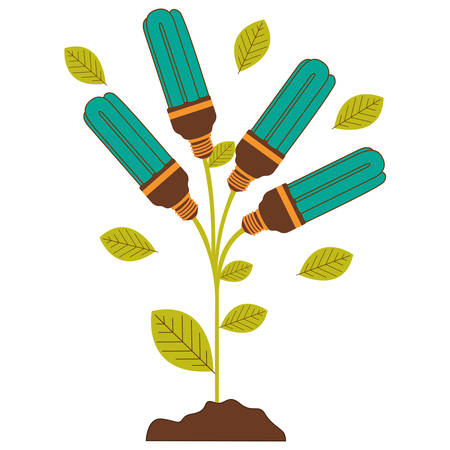 resourceful: plant stem with leaves and fluorescent bulbs with light turquoise vector illustration