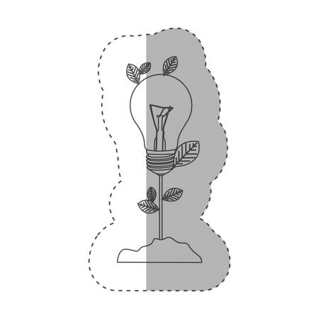 resourceful: sticker with grayscale contour with plant stem with leaves and Incandescent bulb vector illustration