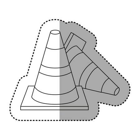 fallen: figure cones of fallen traffic icon, vector illustraction design