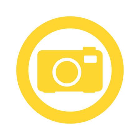 yellow symbol camera icon, vector illustraction design image Illustration