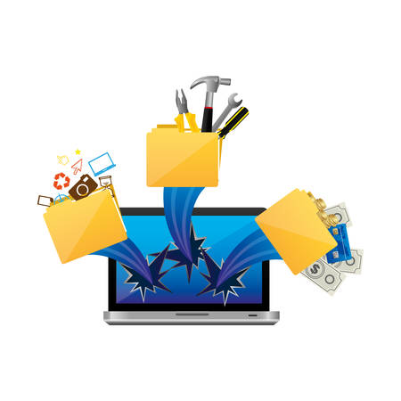 computer with files tools outside icon, vector illustraction