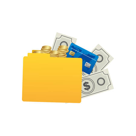 convention: yellow file with money icon, vector illustraction design image Illustration
