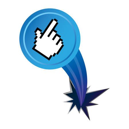 lock up: blue hand cursor with hole icon, vector illustraction design