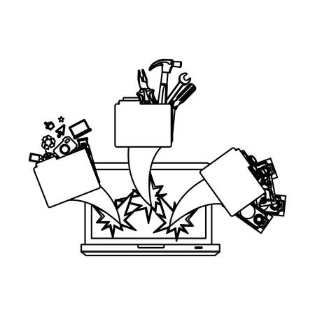 figure computer with files tools outside icon, vector illustraction