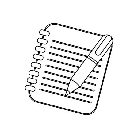 note pad: figure notebook with pen icon