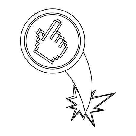 lock up: figure hand cursor with hole icon Illustration