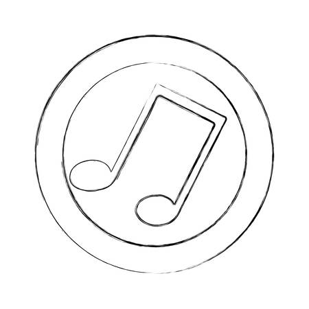 semiquaver: blurred silhouette circular frame with musical note vector illustration