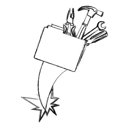 directory: blurred silhouette folder and hand tools vector illustration