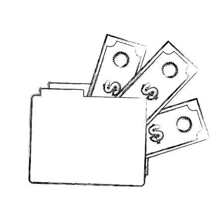 doctor money: blurred silhouette folder with money accounts vector illustration Illustration