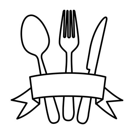 silhouette cutlery kitchen elements with ribbon vector illustration