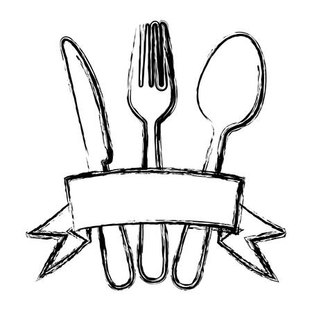 blurred silhouette cutlery kitchen elements with ribbon vector illustration