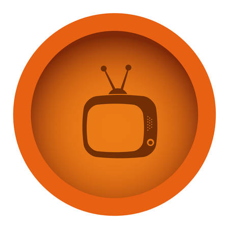 orange color circular frame with silhouette antique tv vector illustration Illustration