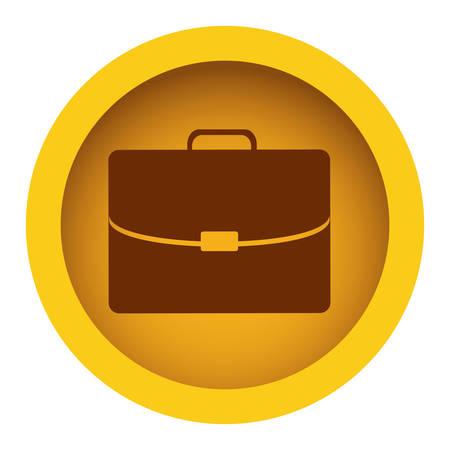 handgrip: yellow color circular frame with silhouette briefcase executive icon vector illustration