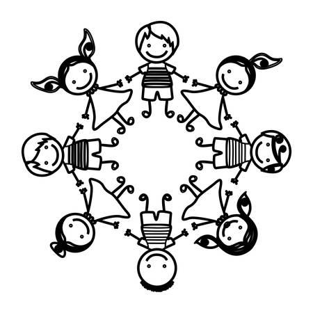 Niños De Dibujos Animados De Grupo Silueta Tomados De La Mano