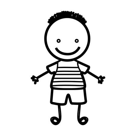 sketch silhouette front view boy with hairstyle vector illustration Illustration