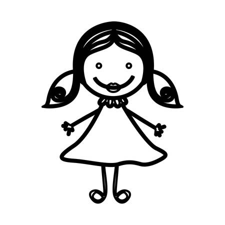 sketch silhouette front view girl with hair pigtails vector illustration Illustration