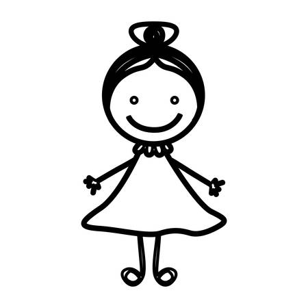 sketch silhouette front view girl with collected hair vector illustration