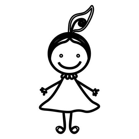 sketch silhouette front view girl with hair tail vector illustration