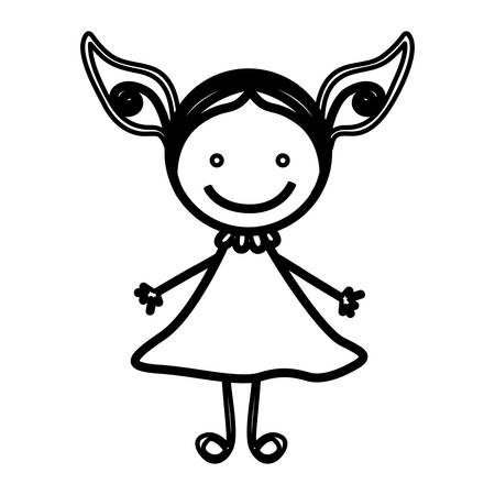 sketch silhouette front view girl with dress vector illustration
