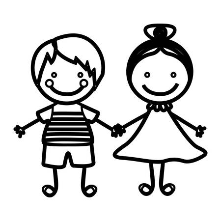 sketch silhouette couple boy with straigth hair and girl with collected hair vector illustration Illustration