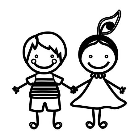 sketch silhouette couple boy and girl with hair tail vector illustration