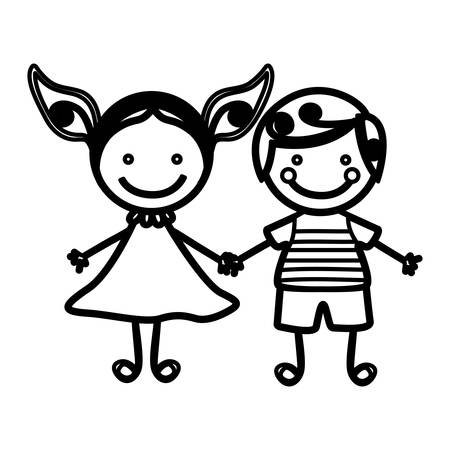 sketch silhouette couple boy with curly hair and girl with dress vector illustration