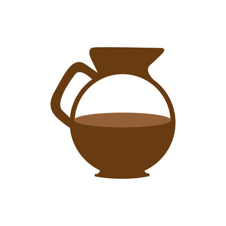 brown glass jar of coffee with handle vector illustration