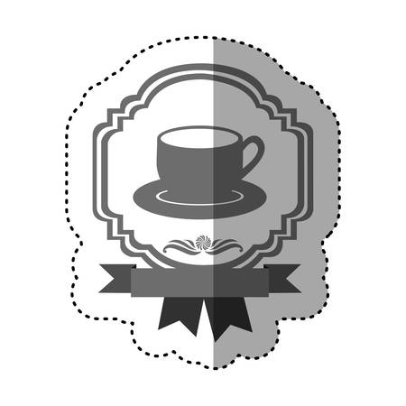 sticker gray scale border heraldic decorative ribbon with dish porcelain with cup vector illustration
