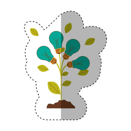 resourceful: sticker of plant stem with leaves and Incandescent bulbs with light turquoise vector illustration Illustration