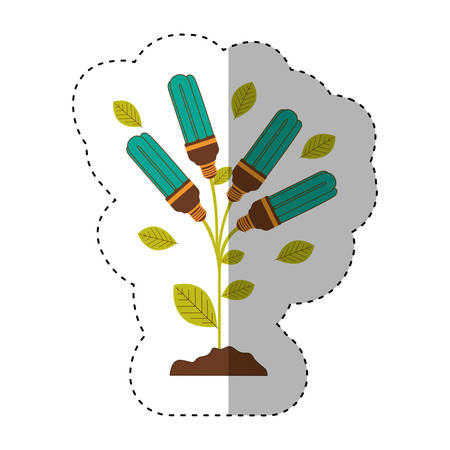 resourceful: sticker of plant stem with leaves and fluorescent bulbs with light turquoise vector illustration Illustration