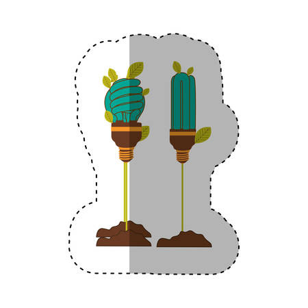 sticker of Incandescent and fluorescent bulb in color turquoise with stem and leaves vector illustration