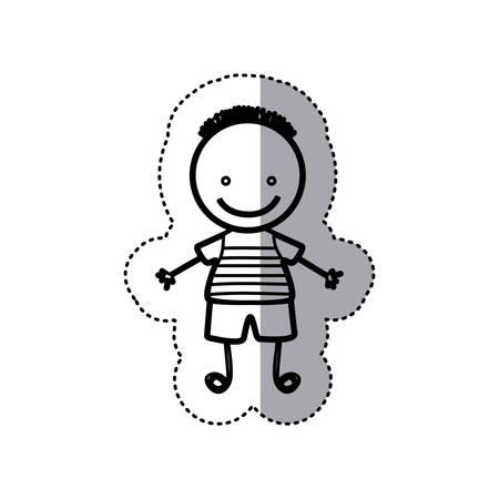 sticker sketch silhouette caricature boy with hairstyle vector illustration Illustration